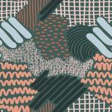 Komplexe Hand gezeichnete Streifen und Dots Vector Seamless Pattern Lizenzfreies Stockbild