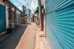 komplexe Stahlstraße Mullae-Dongs in Seoul, Korea lizenzfreies stockfoto