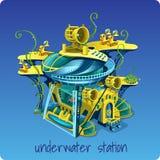 Komplexe Unterwasserstation auf einem blauen Hintergrund stock abbildung
