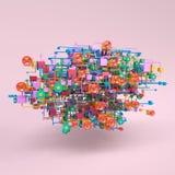 Komplexes Arbeitsflussnetzdiagramm lizenzfreie stockbilder