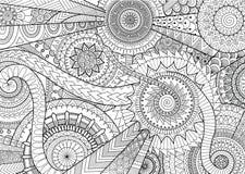 Komplexes Mandalabewegungsdesign für erwachsenes Malbuch und Hintergrund Lizenzfreies Stockbild