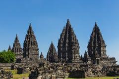 Komplexet för forntida tempel av Prambanan Arkivfoto