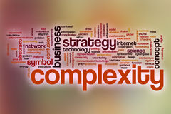 Komplexitätswortwolke mit abstraktem Hintergrund Stockfoto