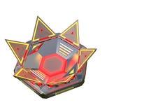 Komplext glödande behållareobjekt från framtiden Många delar i invecklade växelverkan Illustration av objektet av Royaltyfria Foton