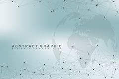 Komplext världsjordklot för stora data Abstrakt bakgrundskommunikation för diagram Perspektivbakgrund av djup Faktiskt minsta vektor illustrationer