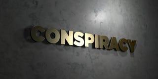 Komplott - guld- text på svart bakgrund - 3D framförd fri materielbild för royalty vektor illustrationer