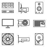 Komponenten des Computers Dünne Linie Ikonen lizenzfreie abbildung