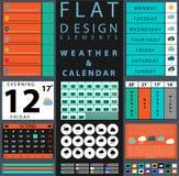 Komponenten, die Designwetter und -kalender kennzeichnen Lizenzfreie Stockfotografie