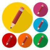 Komponera symbolen, blyertspennauppsättning med lång skugga Arkivbilder