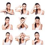 Komposit av negativa sinnesrörelser och gester med flickan Arkivbilder