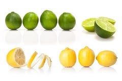 Komposit med grön den isolerade limefrukt och gulingcitronen Arkivfoto