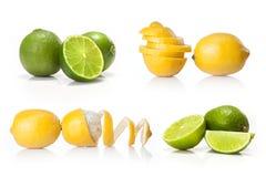 Komposit med grön den isolerade limefrukt och gulingcitronen fotografering för bildbyråer