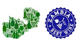 Komposition der Trauben-Wein-Karte von Sambia und von bestem Wein-Grunge-Stempel lizenzfreie abbildung
