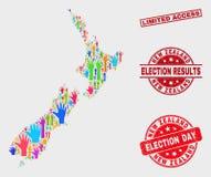 Komposition von Stimmzettel-Neuseeland-Karte und von Grunge-Dichtung mit eingeschränktem Zugriff stock abbildung