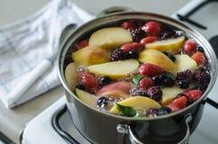 Kompot da baga e da maçã do russo no potenciômetro grande no fogão de gás, suco de fruta fresco, bebida do verão imagens de stock royalty free