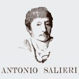 Kompozytor Antonio Salieri tło karty fasonują wektor przydać jak portret Zdjęcia Stock