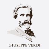 Kompozytor Giuseppe Verdi tło karty fasonują wektor przydać jak portret Obrazy Royalty Free
