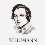 Kompozytor Robert Schumann tło karty fasonują wektor przydać jak portret Obrazy Royalty Free