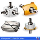 Kompres narzędziowe wektorowe ikony royalty ilustracja