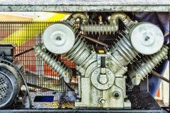 Kompressorgeschenknahaufnahme der Teile und der Elemente industrielle Stockfotografie