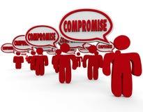 Kompromiss-Bank-Debatte verhandeln über Leute-Sprache-Blasen Stockfotos