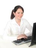 komputer bizneswomanu działania Fotografia Stock