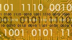 Komputer deska w pracie z binarnym kodem ilustracja wektor
