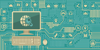 Komputer deska z Osobistym komputerem Ogólnospołecznymi Medialnymi ikonami i Zdjęcia Stock
