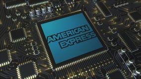 Komputer drukował obwód deskę lub PCB z American Express firmy logem Konceptualny artykułu wstępnego 3D rendering ilustracji