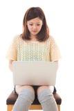 Komputer i kobieta Zdjęcia Stock