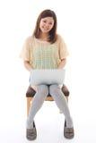 Komputer i kobieta Zdjęcia Royalty Free