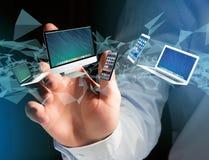 Komputer i przyrząda wystawiający na futurystycznym interfejsie - Wielo- fotografia stock