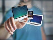Komputer i przyrząda wystawiający na futurystycznym interfejsie z bu zdjęcia royalty free
