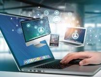 Komputer i przyrząda wystawiający na futurystycznym interfejsie z bu zdjęcia stock