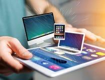 Komputer i przyrząda wystawiający na futurystycznym interfejsie z bu fotografia stock