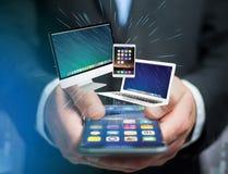 Komputer i przyrząda wystawiający na futurystycznym interfejsie z bu zdjęcie royalty free