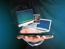 Komputer i przyrząda wystawiający na futurystycznym interfejsie z bu fotografia royalty free