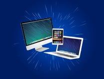Komputer i przyrząda wystawiający na futurystycznym interfejsie z bu zdjęcie stock