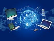 Komputer i przyrząda wystawiający na futurystycznym interfejsie z wewnątrz fotografia stock