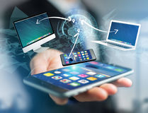 Komputer i przyrząda wystawiający na futurystycznym interfejsie z wewnątrz zdjęcia stock
