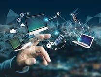 Komputer i przyrząda wystawiający na futurystycznym interfejsie z wewnątrz obraz royalty free