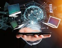 Komputer i przyrząda wystawiający na futurystycznym interfejsie z wewnątrz zdjęcie royalty free