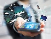 Komputer i przyrząda wystawiający na futurystycznym interfejsie z wewnątrz zdjęcie stock