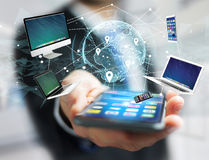 Komputer i przyrząda wystawiający na futurystycznym interfejsie z wewnątrz obrazy stock