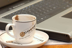 komputer kawy obrazy royalty free