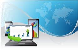 Komputer, laptop pastylka i telefon. biznesowi wykresy Zdjęcie Stock