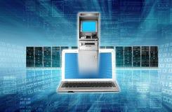 komputer może bankowych pojęcia kosztów problem stał się online etc Fotografia Stock