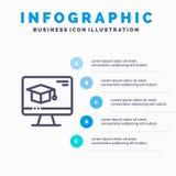 Komputer, nakrętka, edukacja, skalowanie linii ikona z 5 kroków prezentacji infographics tłem ilustracja wektor