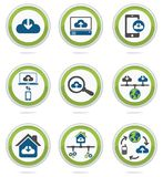 Komputer obłoczne ikony ustawiać Zdjęcie Royalty Free
