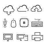 Komputer Odnosić sie kontur grafiki ikona ilustracja wektor